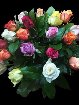 Boeket gekleurde rozen